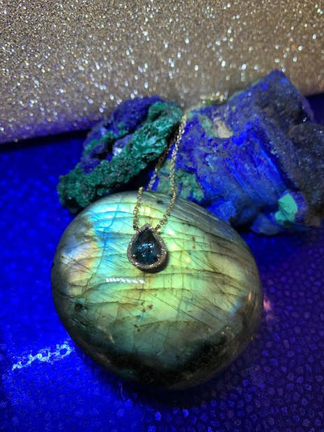 London Blue pear shaped pendant necklace
