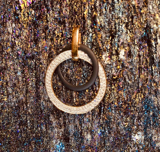 Black ceramic and diamond pendant