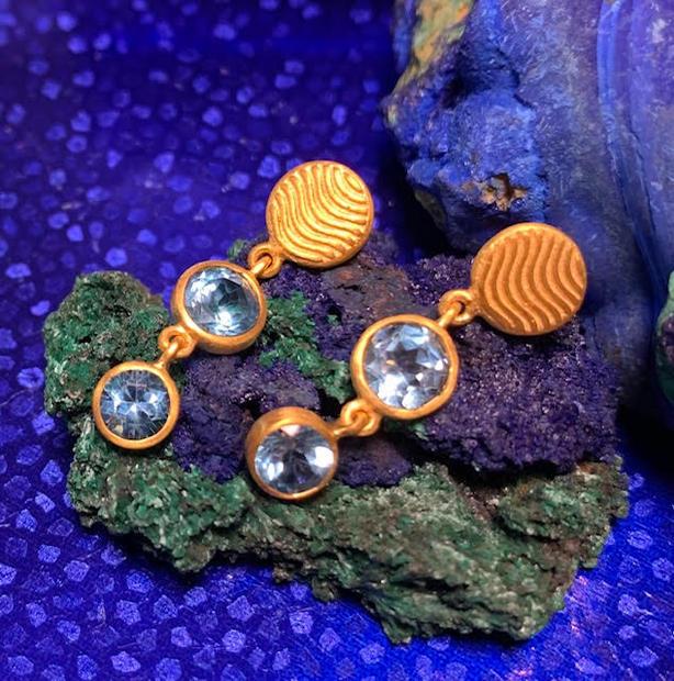 Blue wave drop earrings