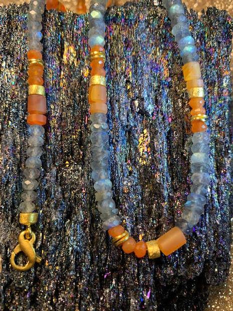 Labradorite and Carnelian bracelet and necklace