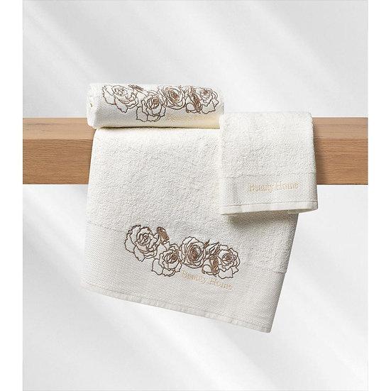 Σετ πετσέτες Art 3253 - Σετ 3τμχ Εκρού Beauty Home