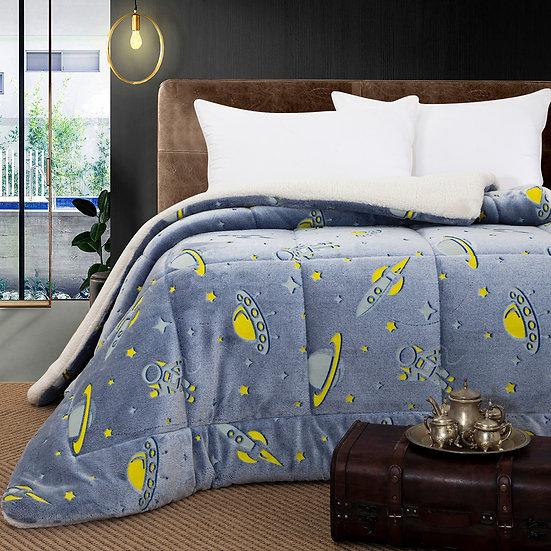 Κουβερτοπάπλωμα μονό φωσφοριζέ Art 6158 -160x220 - Γαλάζιο Beauty Home