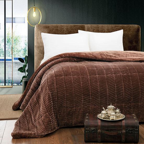 Κουβερτο-πάπλωμα υπέρδιπλο Art 1791 - 220x240 Καφέ Beauty Home