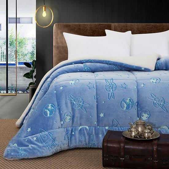 Κουβερτοπάπλωμα μονό φωσφοριζέ Art 6156 -160x220 - Γαλάζιο Beauty Home