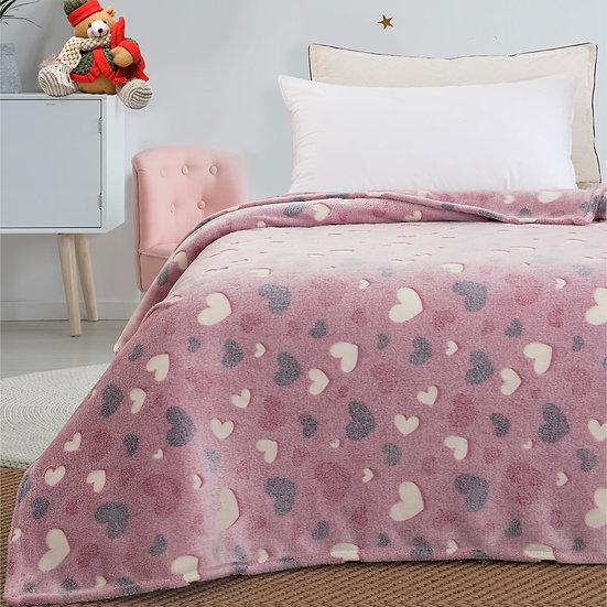 Κουβέρτα μονή φωσφορίζουσα Art 6137 - 160x220 Ροζ Beauty Home