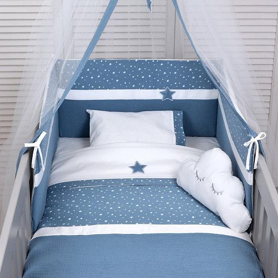 Πάπλωμα + Πάντα Κούνιας Μουσελίνα Baby Oliver Muslin Blue 374