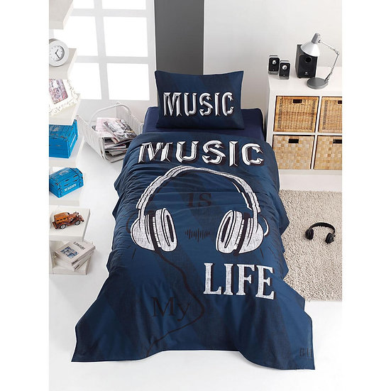 Σετ σεντόνια μονά Sound - 160x240 Μπλε Beauty Home