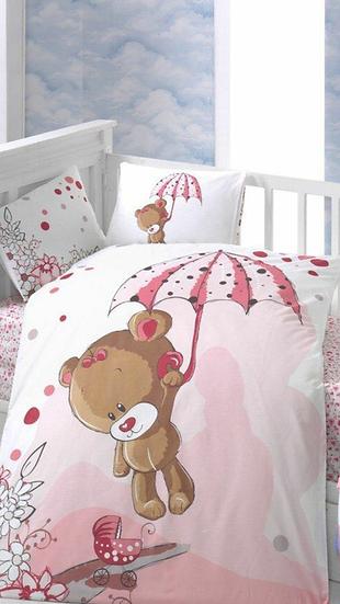 Καλοκαιρινή κουβέρτα με σεντόνι Baby Textile pink