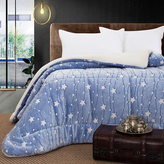 Κουβερτοπάπλωμα μονό φωσφοριζέ Art 6151 -160x220 -Γαλάζιο Beauty Home