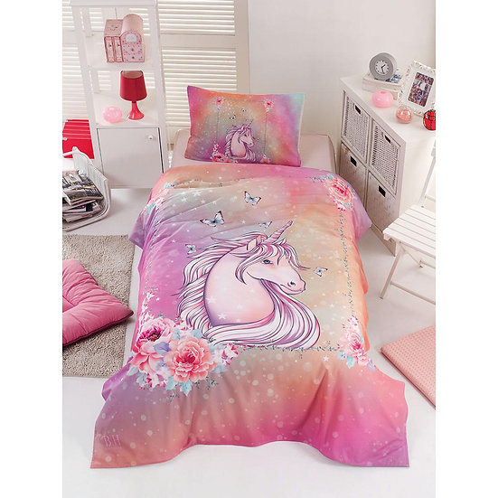 Πάπλωμα μονό Unicorn Art 6114 - 160x240 Ροζ Beauty Home