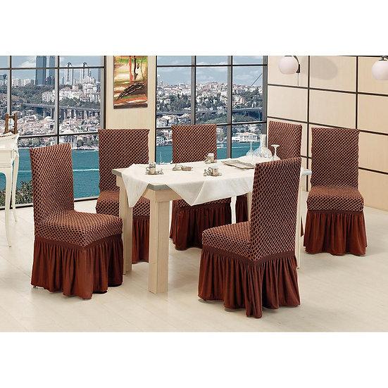 Ελαστικά καλύμματα καρέκλας σετ 6τμχ σε 6 χρώματα - Σετ 6τμχ Καφέ Beauty Home
