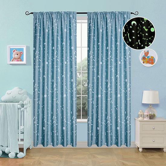 Κουρτίνα φωσφορίζουσα με τρέσα Art 6141 σιέλ - 140x270 Σιέλ Beauty Home