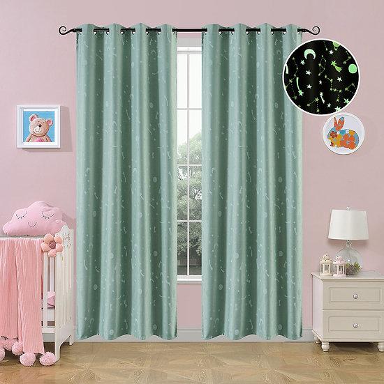 Κουρτίνα φωσφορίζουσα με 8 κρίκους Art 6140 μέντα - 140x260 Μέντα Beauty Home