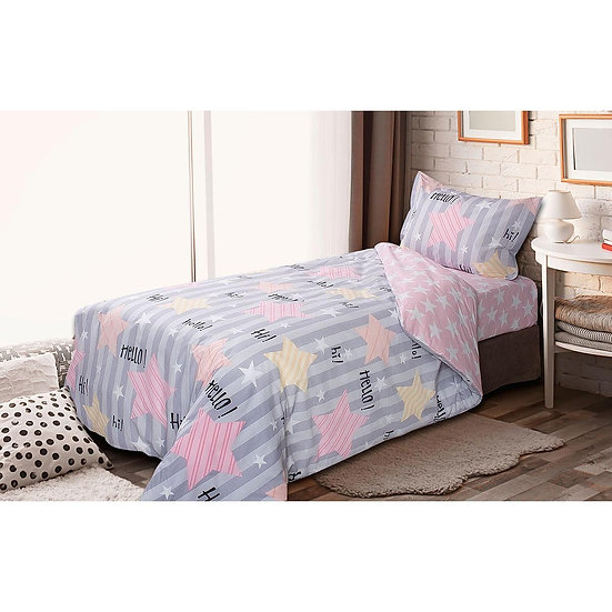 Παπλωματοθήκη μονή Chat - 160x240 Γκρι, Ροζ Beauty Home