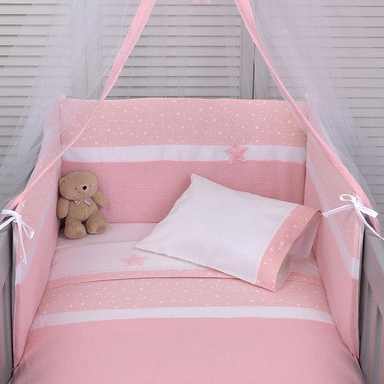 Πάπλωμα + Πάντα Κούνιας Μουσελίνα Baby Oliver Muslin Pink 372