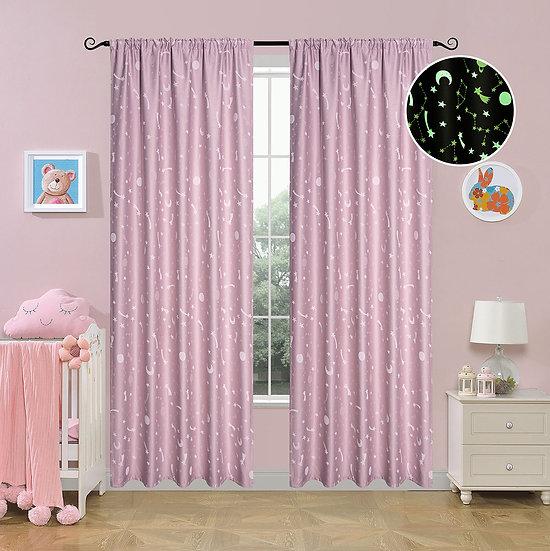 Κουρτίνα φωσφορίζουσα με τρέσα Art 6141 ροζ - 140x270 Ροζ Beauty Home