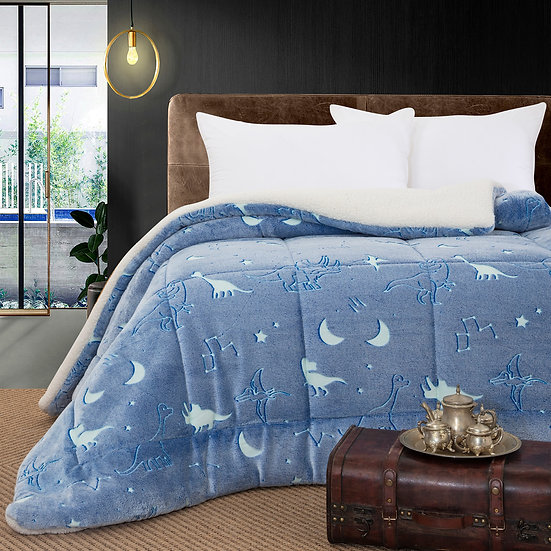 Κουβερτοπάπλωμα μονό φωσφοριζέ Art 6159 -160x220 - Γαλάζιο Beauty Home