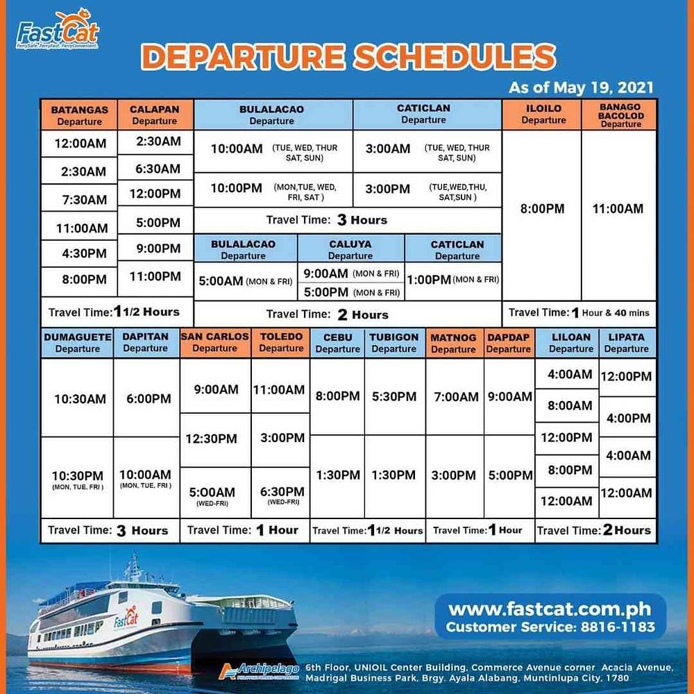 Horraire des Ferrys rapides mixtes FastCat dans les Îles Philippines 2021