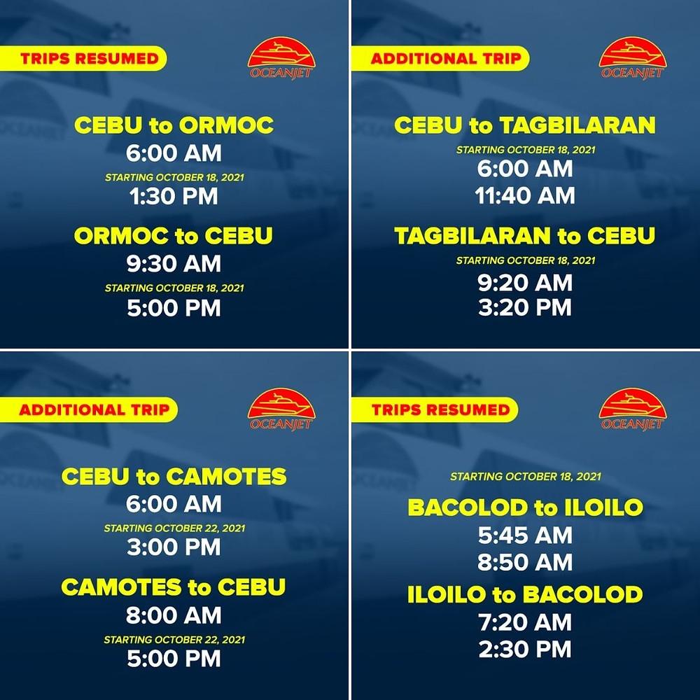 Infographie, horaires OceanJet Cebu, Bohol, Camotes, Ormoc, octobre 2021