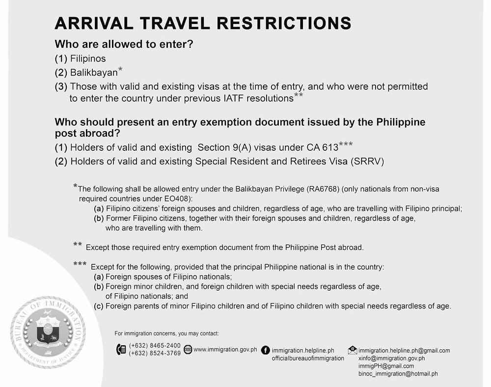 Affiches informatives pour les voyageurs aériens Philippines