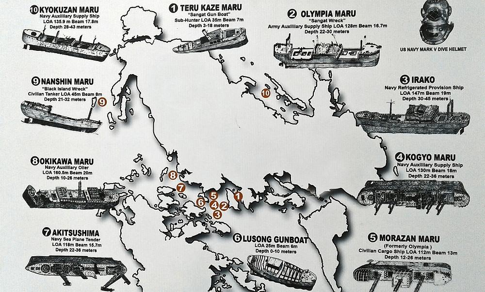 Carte des possibilités de snorkeling et tuba des 8 épaves à Coron Palawan