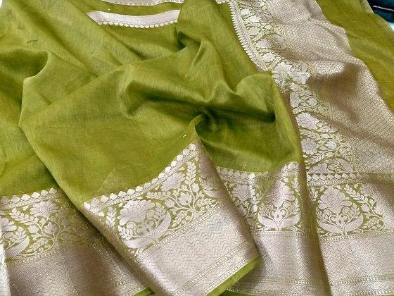 Preety Mehandi Green linen Banarsi handloom saree