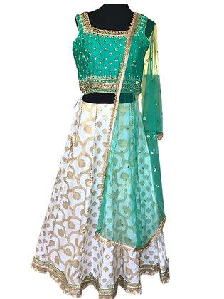 Esthetic White Green silk Lehanga Choli