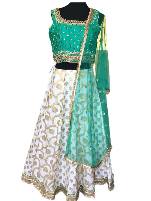 Esthetic White Green silk Lehanga Choli