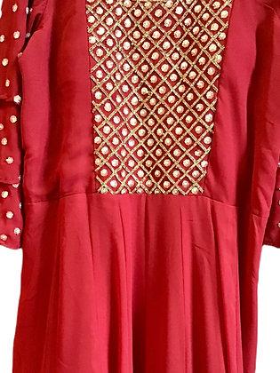 Beautiful Red Abaya Style Salwar Suit