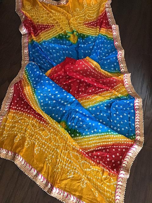 Multicolor Bandhani Silk Dupatta
