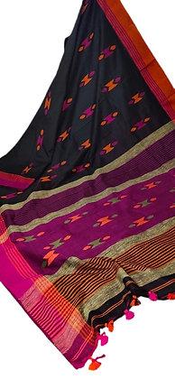 Beautiful Black Pink Handloom Cotton Saree