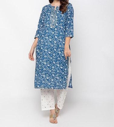 Blue Cotton Plazzo Suit Set