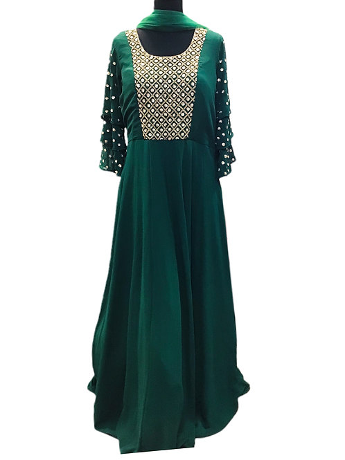 Beautiful Green Abaya Style Salwar Suit