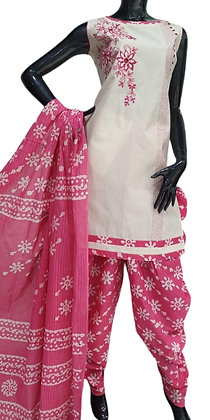 White and Pink Patiala Suit