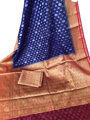 Beautiful Blue Banarasi kora Organza saree