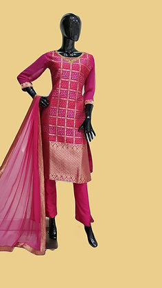 Pink Churridar Suit