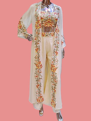 Trendy style Embroidered Cream Plazzo Top Set With Jacket