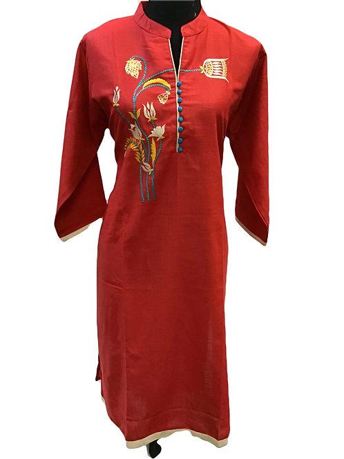Red Rayon Cotton Kurti 4xl