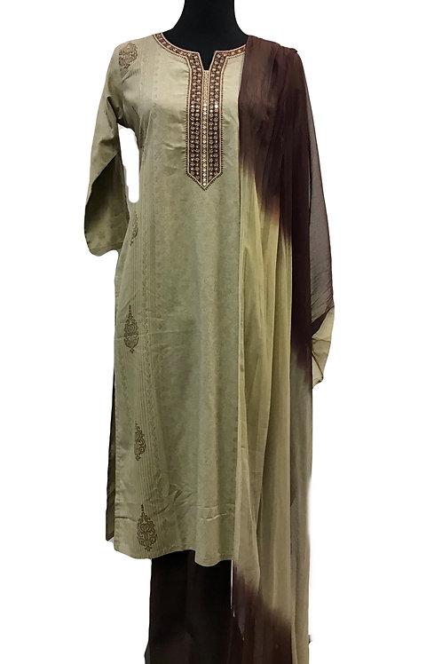Brown Rayon Plazzo Suit set