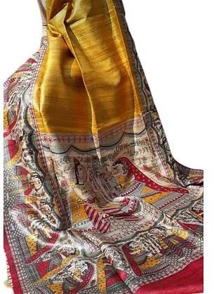 Yellow Tussar Ghicha Madhubani Print Saree