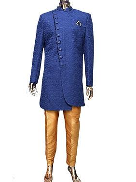 Navy Blue Lucknowi Indo-Western Sherwani for Men