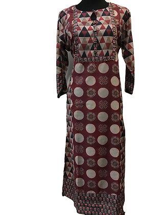 Marron Straight Silk Kurti
