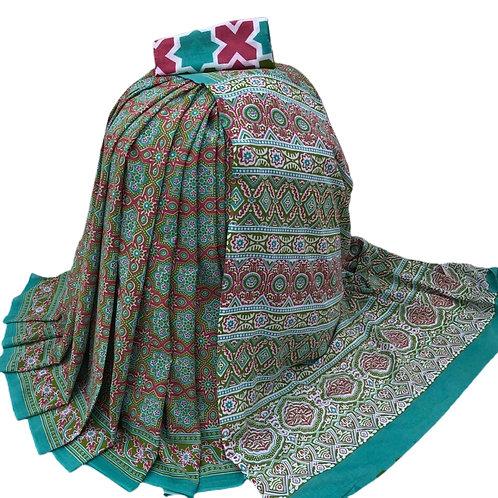 Bagru print Cotton mulmul Saree