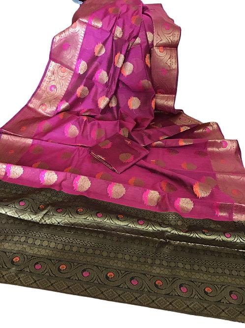 Aesthetic Pink Matka Cotton Silk Saree