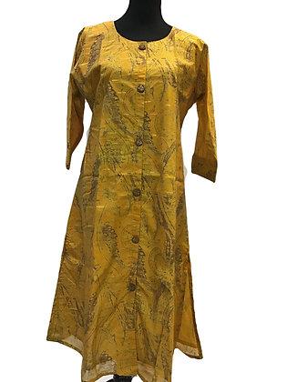 Cotton Silk Yellow Kurti
