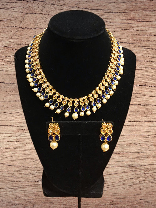 Kundan Blue Choker Necklace Set