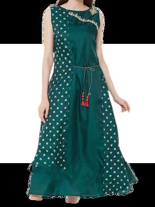 Stunning Embroidered Bottle Green Layered Kurti