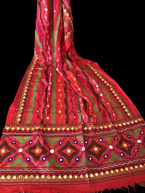 Red Cotton Dupatta