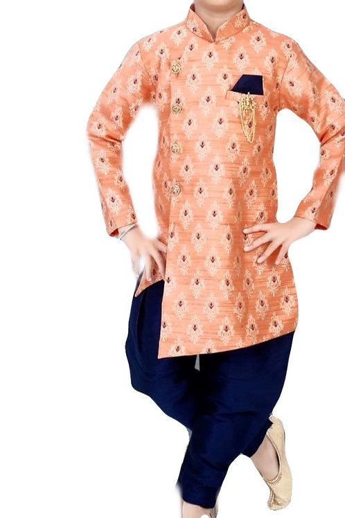Indo western Asymmetrical Sherwani in orange and Blue