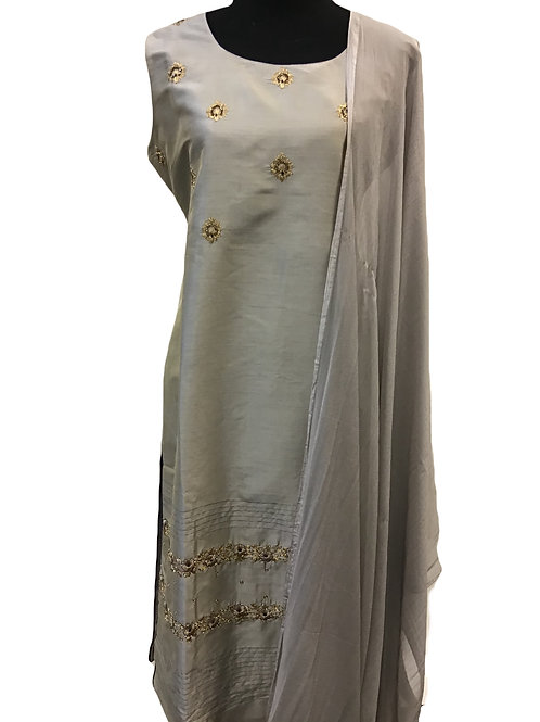 Grey Silver Straight Churridar Suit